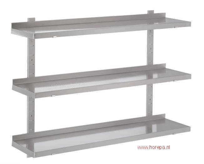 Inox Keuken Werktafel : Wandschap verstelbaar drie dubbel – twee ondersteunen.jpg (22213 bytes