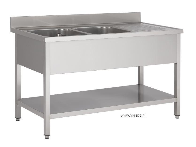 Inox Keuken Werktafel : Geleverd inclusief standpijp (overlooppijp) en bodemzeef met sifon